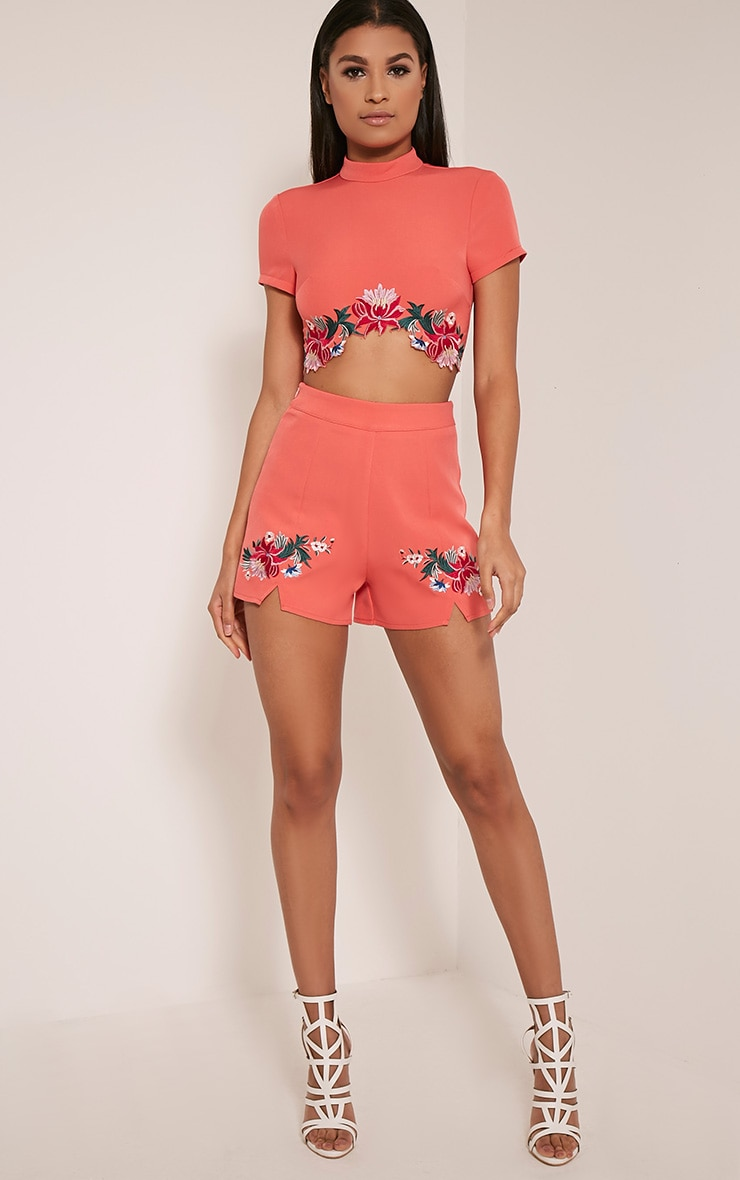 Charis Coral Floral Embroidered Crop Top 7