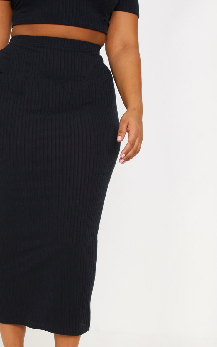 Plus Black Rib High Waisted Midi Skirt 5