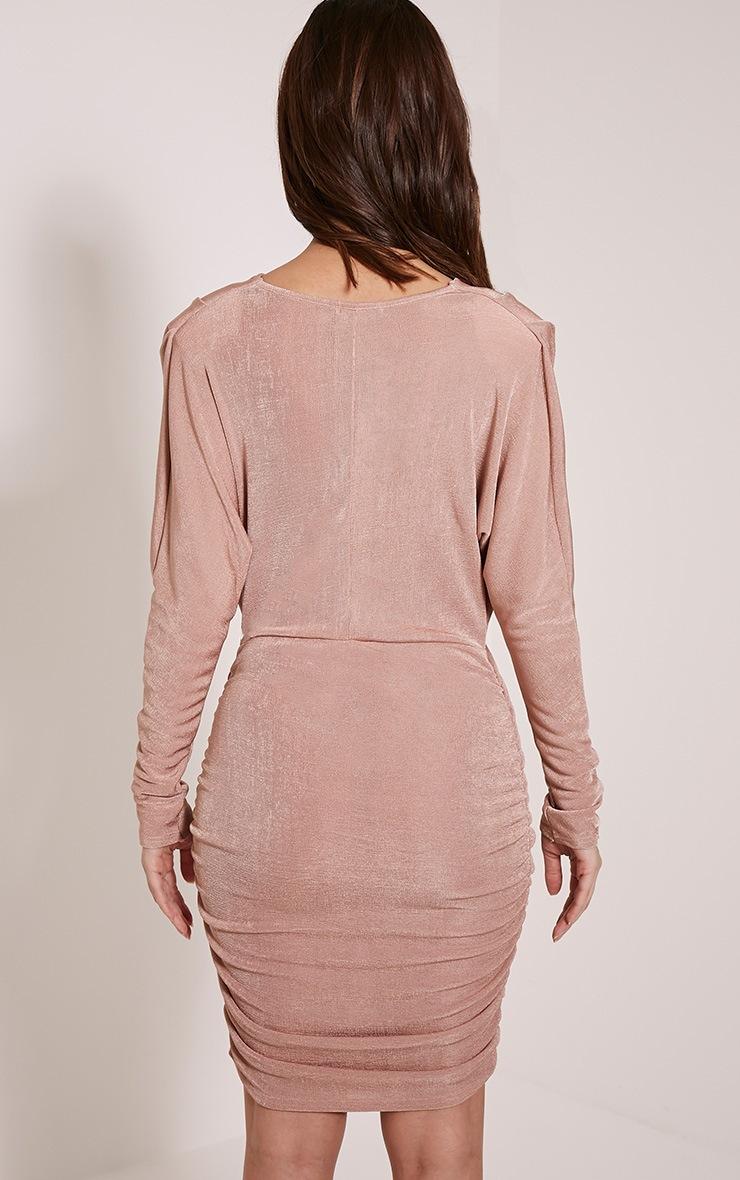 Gabrielle Blush Cape Ruched Bodycon Dress 2