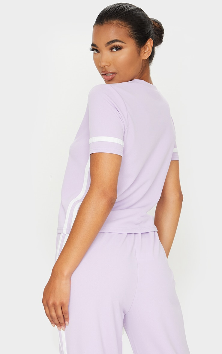 Lilac Stripe Detail T Shirt 2