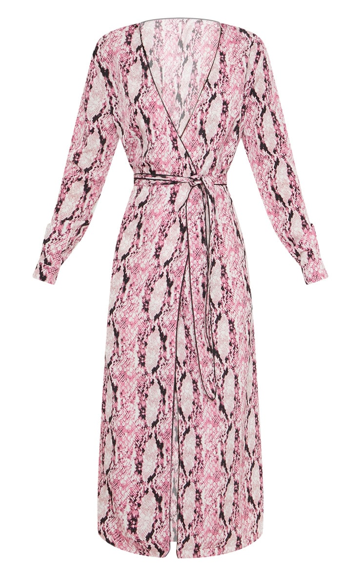 Pink Snake Print Belted Midi Dress 3