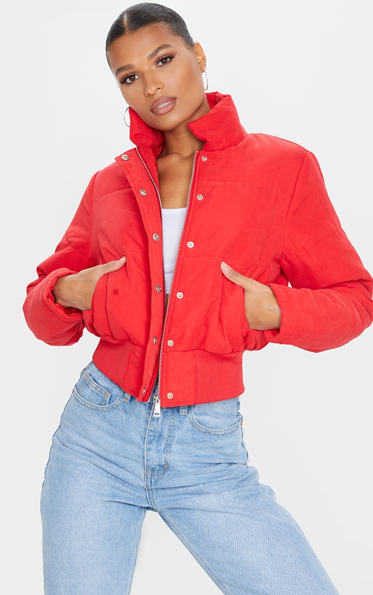 Red Peach Skin Cropped Puffer Jacket 1