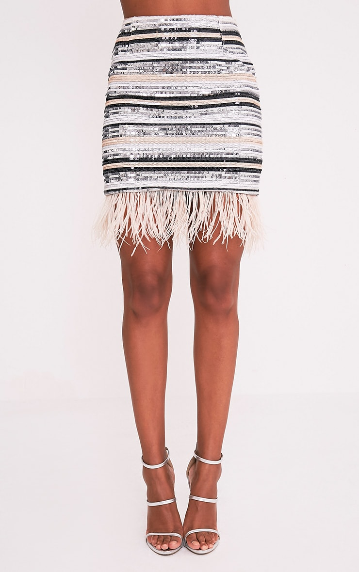 Elva Nude Feather Trim Sequin Mini Skirt 2