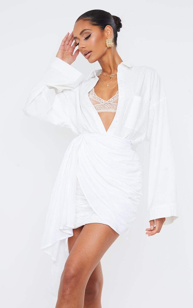 White Ruched Drape Front Linen Look Mini Skirt 4