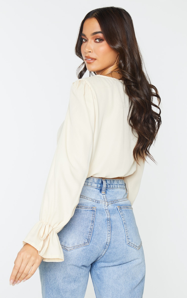 Cream Chiffon Front Tie Detail Cropped Blouse 2