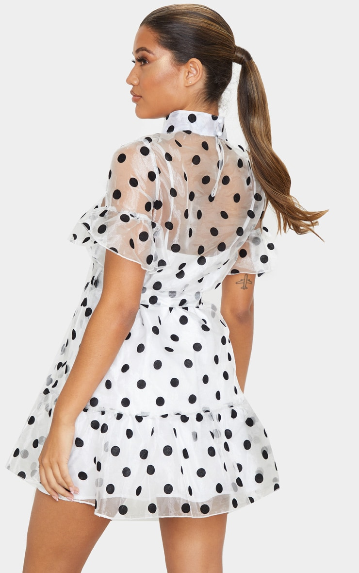 White Polka Dot Organza Frill Hem Smock Dress 2