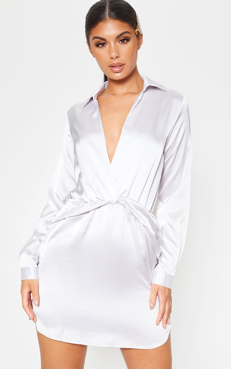 Katalea Silver Grey Twist Front Silky Shirt Dress 1