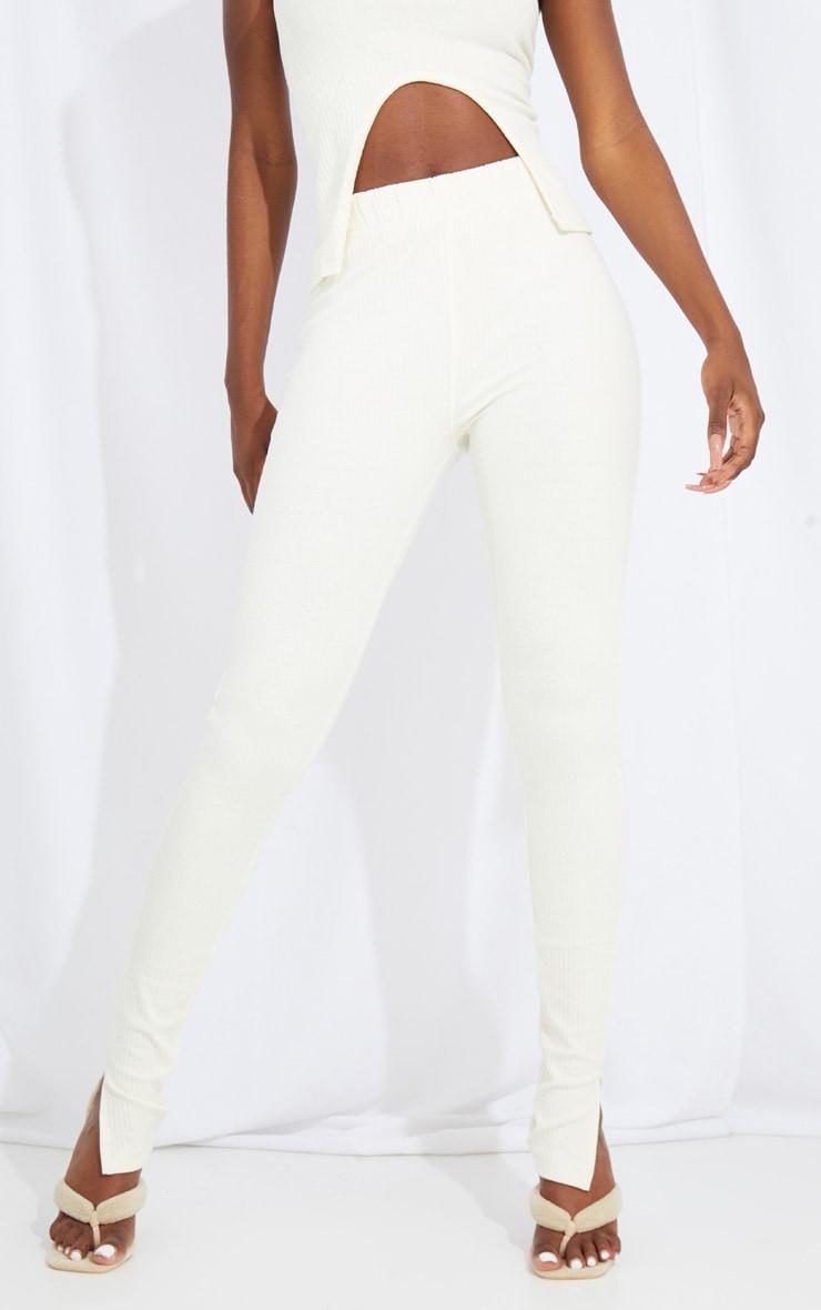 Tall Cream Split Hem Ribbed Leggings 2