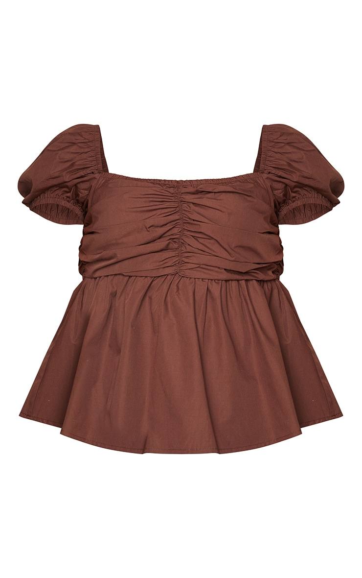 Plus Chocolate Ruched Puff Sleeve Top 5