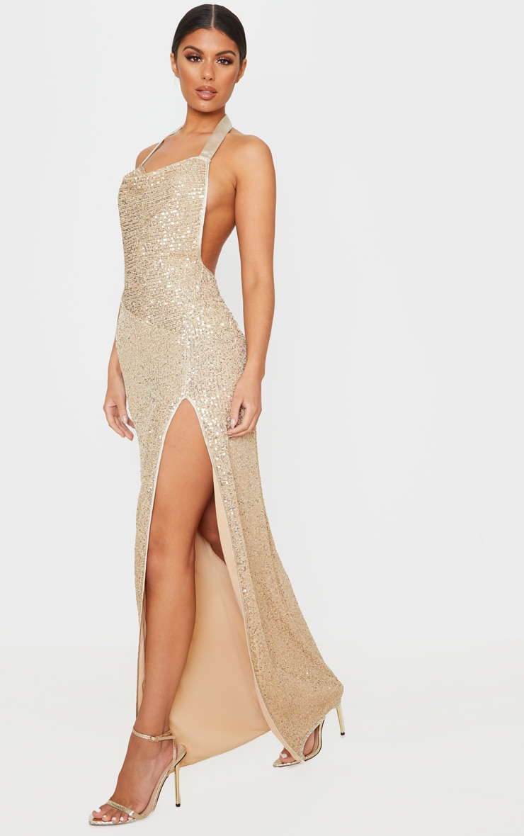 Gold Sequin Back Detail Maxi Dress 4