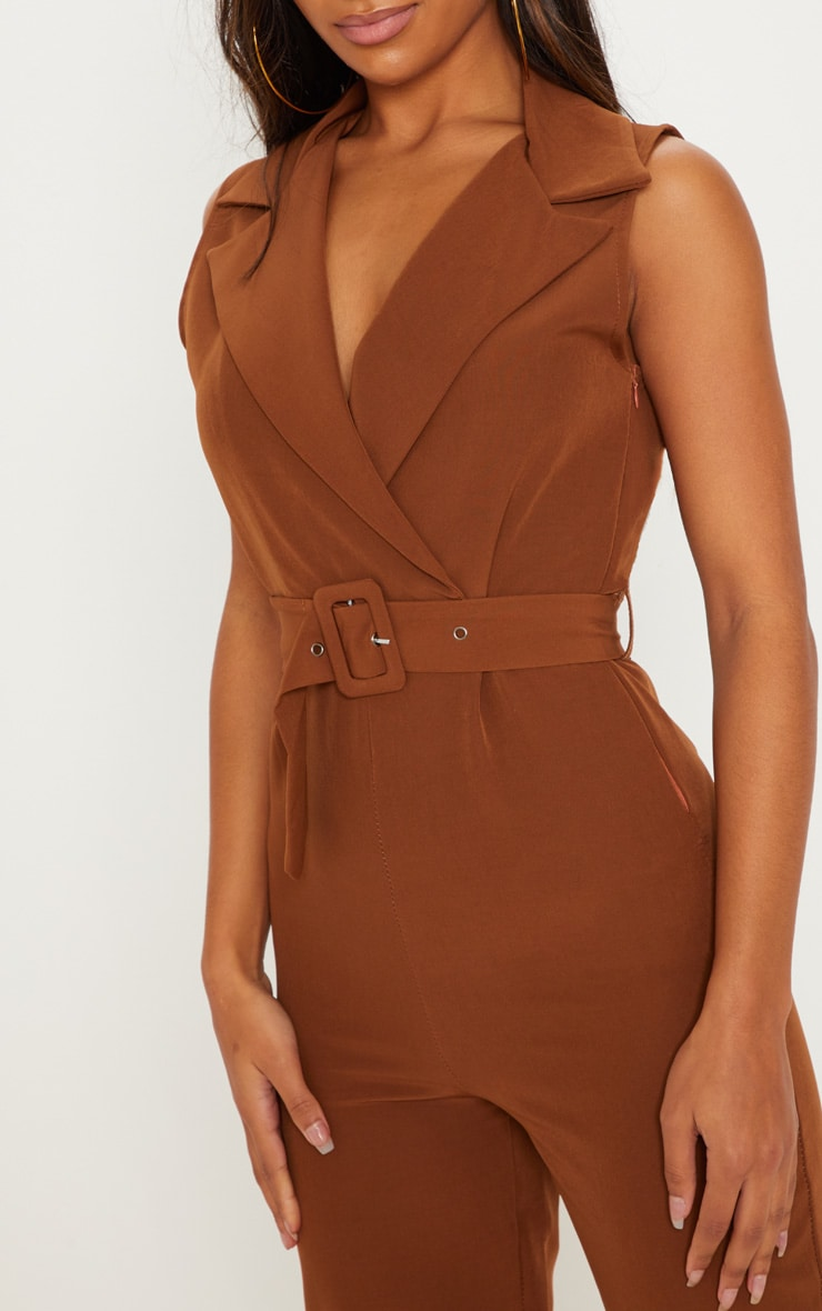 Brown Woven Collar Buckle Front Jumpsuit 5