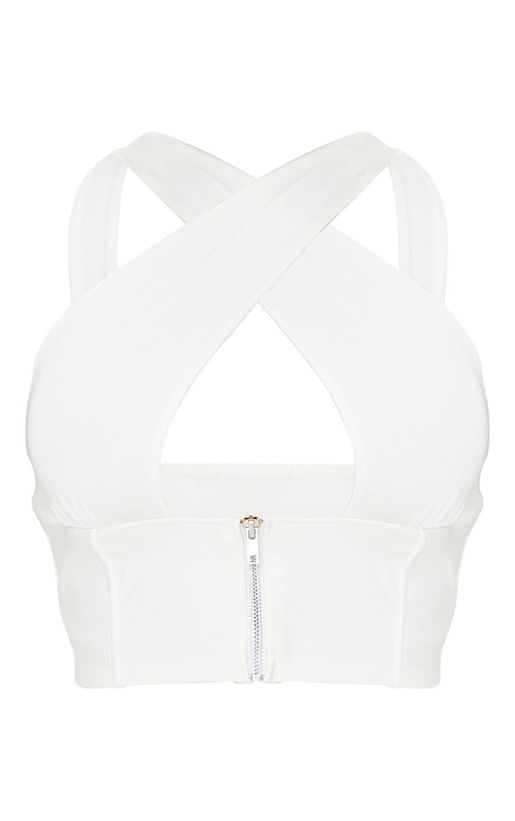 White PU Underbust Halterneck Strap Detail Crop Top 5