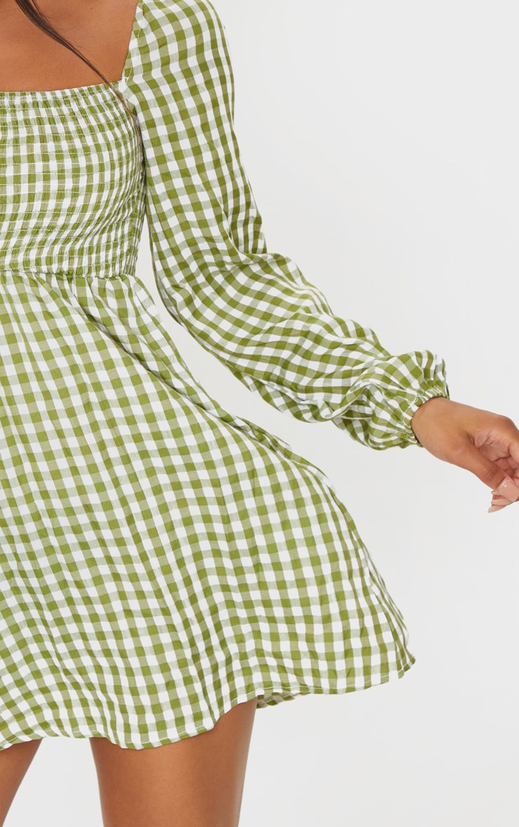Green Gingham Shirred Smock Dress 4