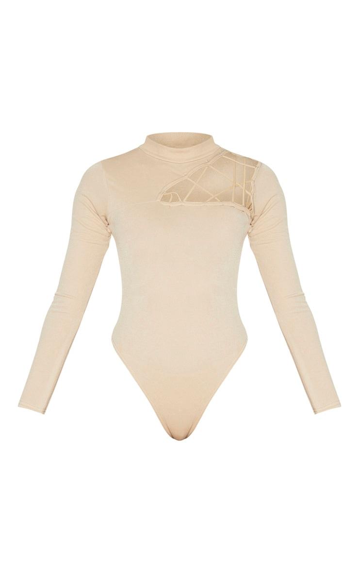Nude Cut Out Detail Crepe Bodysuit 5