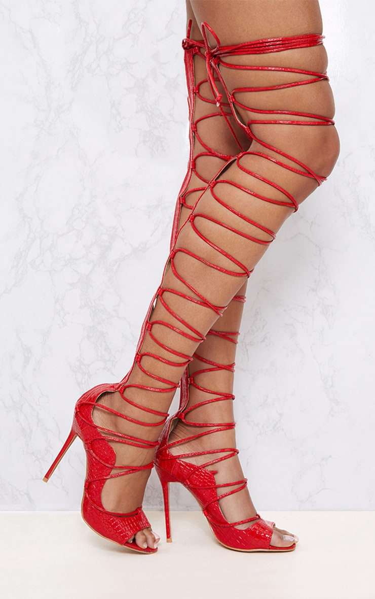 Red Thigh High Lace Up Heels 2