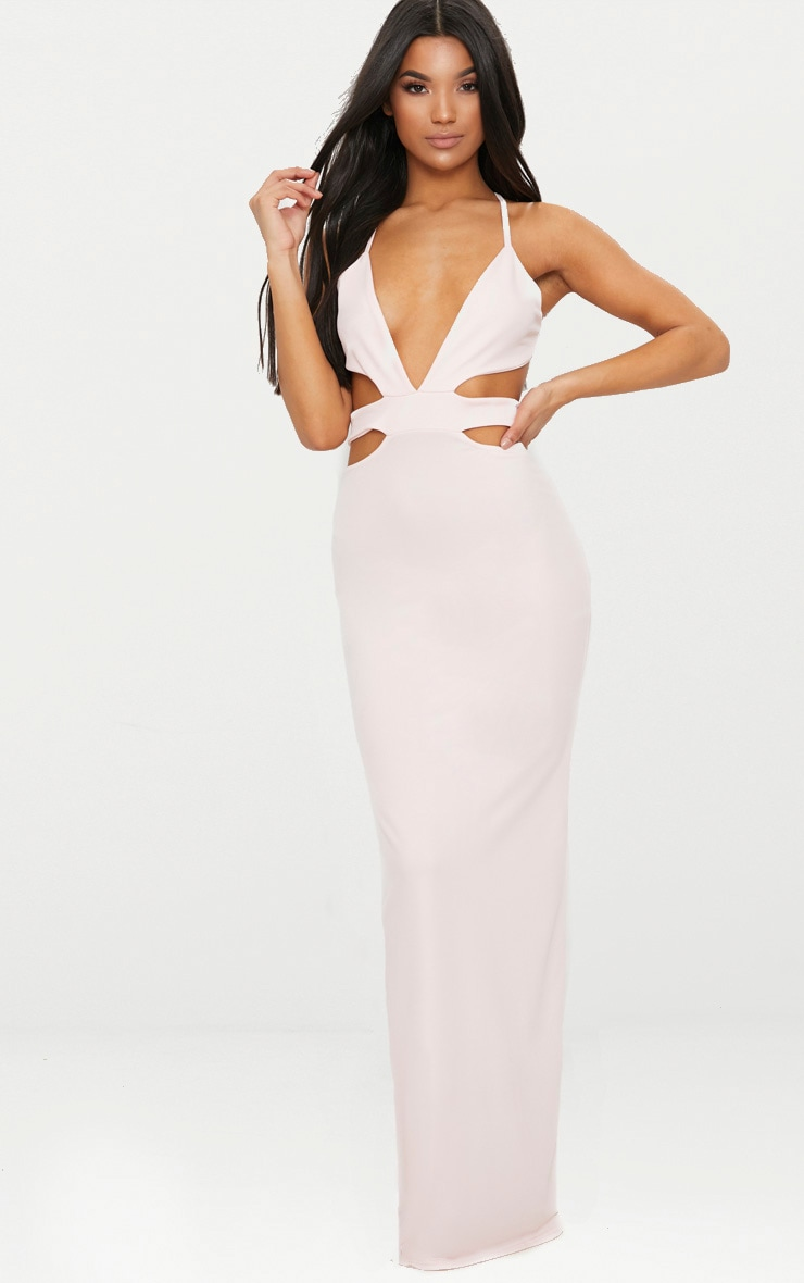 Pale Pink Strappy Cut Out Detail Maxi Dress 1