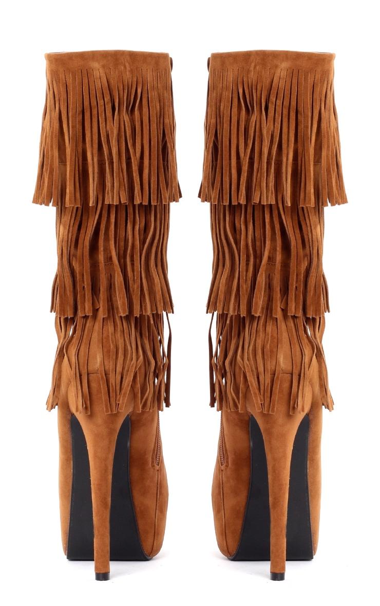 Nala Tan Mid Leg Suedette Fringe Boots 2