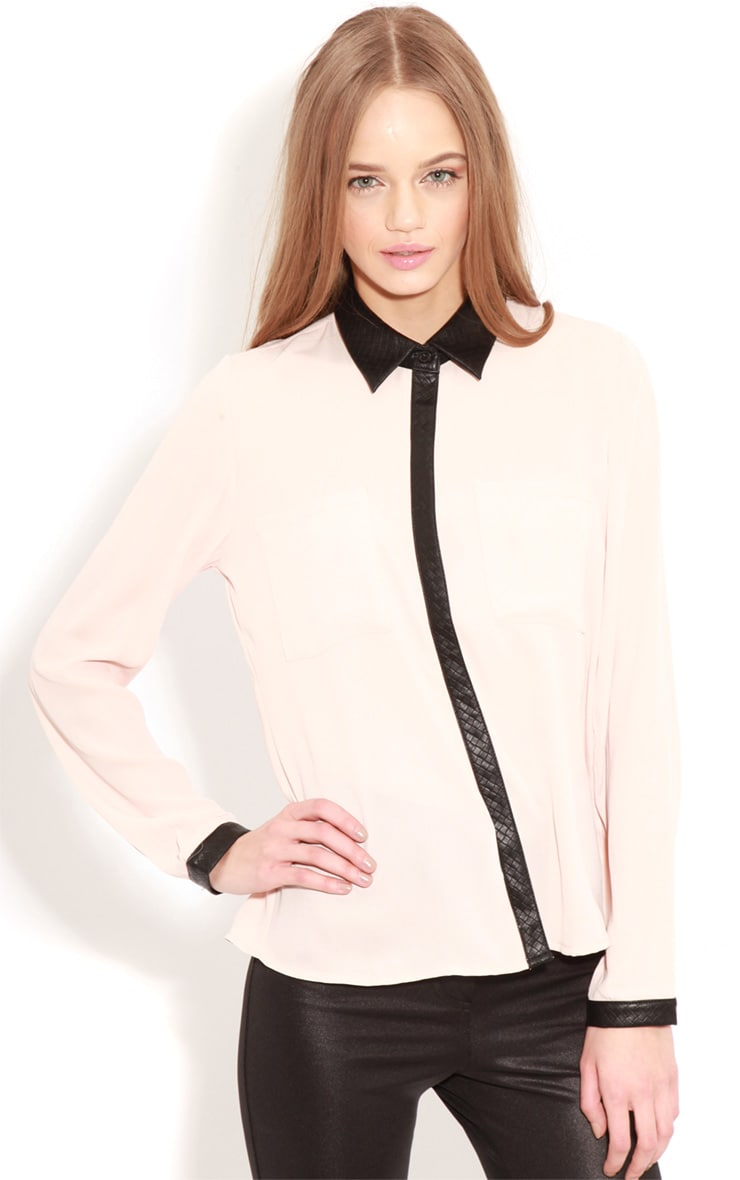Frances Peach Chiffon Blouse With Faux Leather Collar 1
