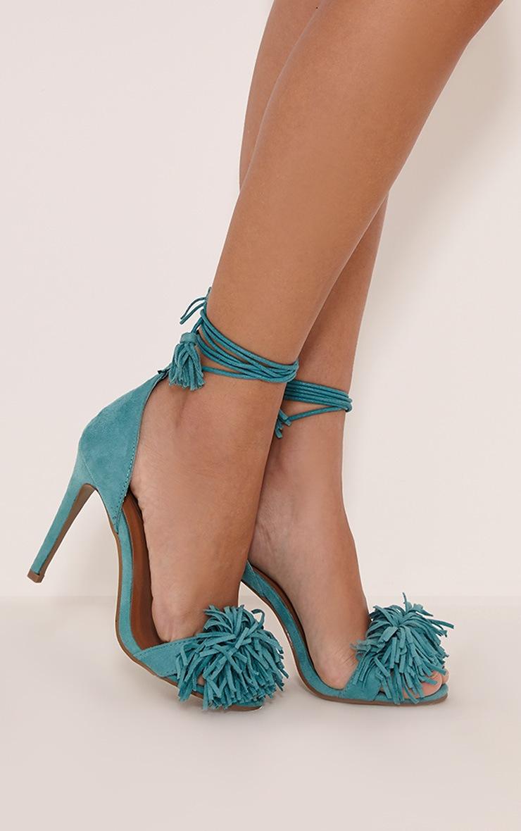 Bena Mint Faux Suede Fringe Sandals 2