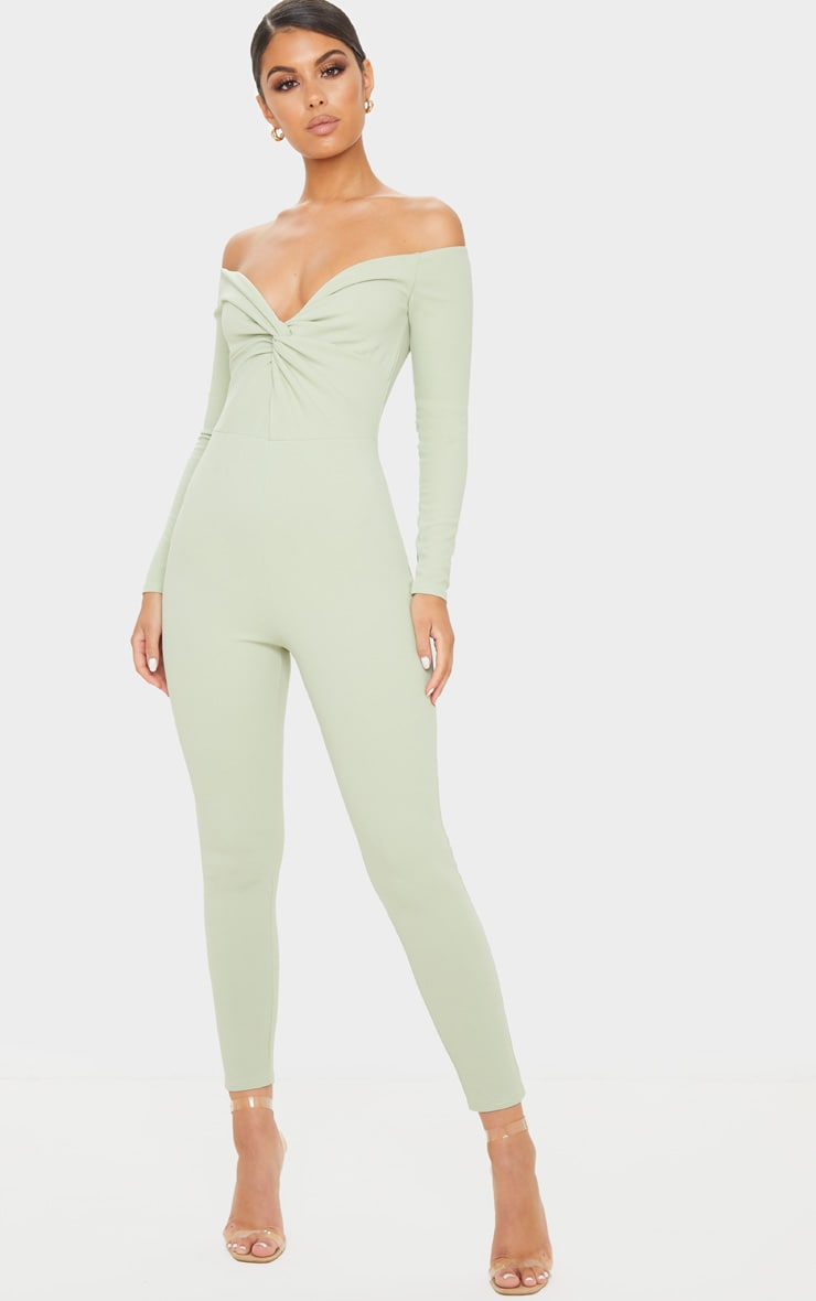 Sage Green Bardot Twist Front Jumpsuit 1