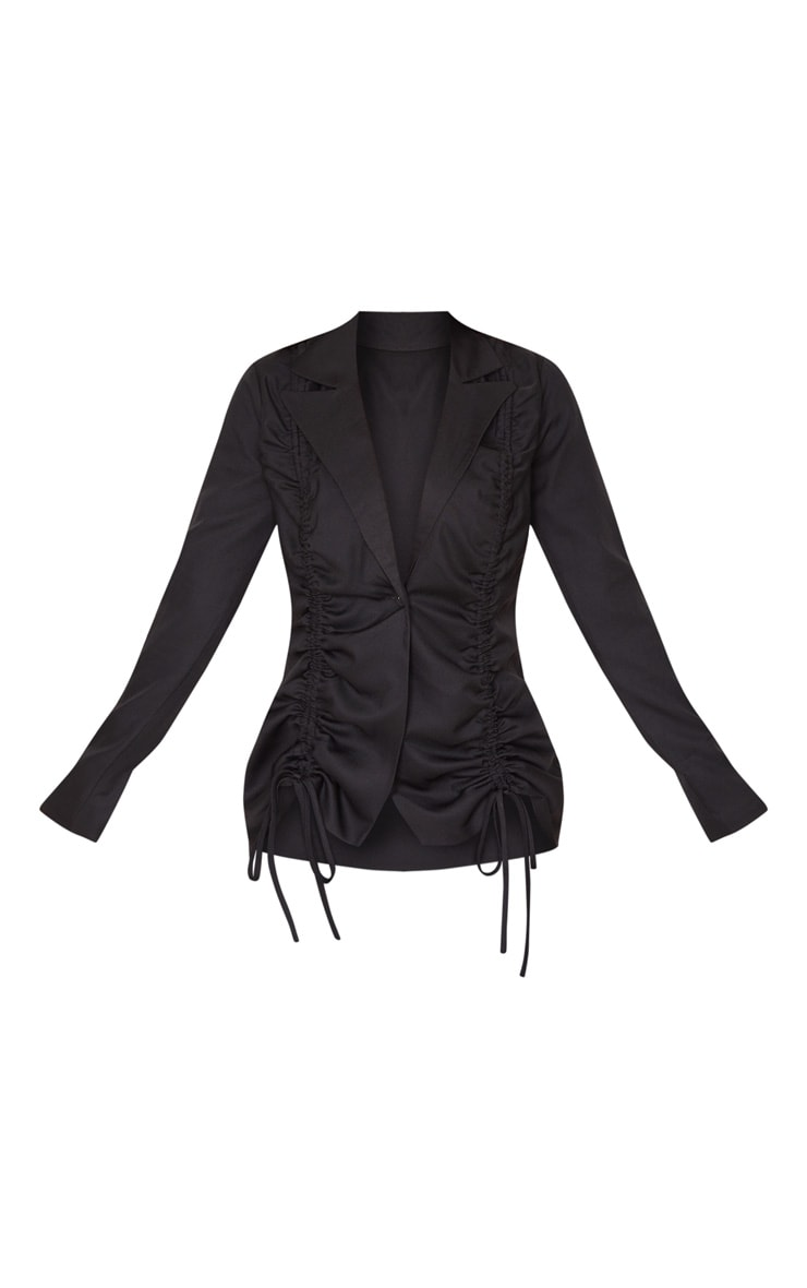 Black Woven Ruched Detail Fitted Jacket 3