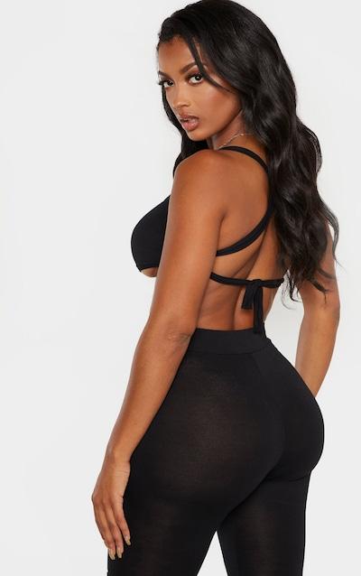 Shape Black Jersey Tie Back Crop Top
