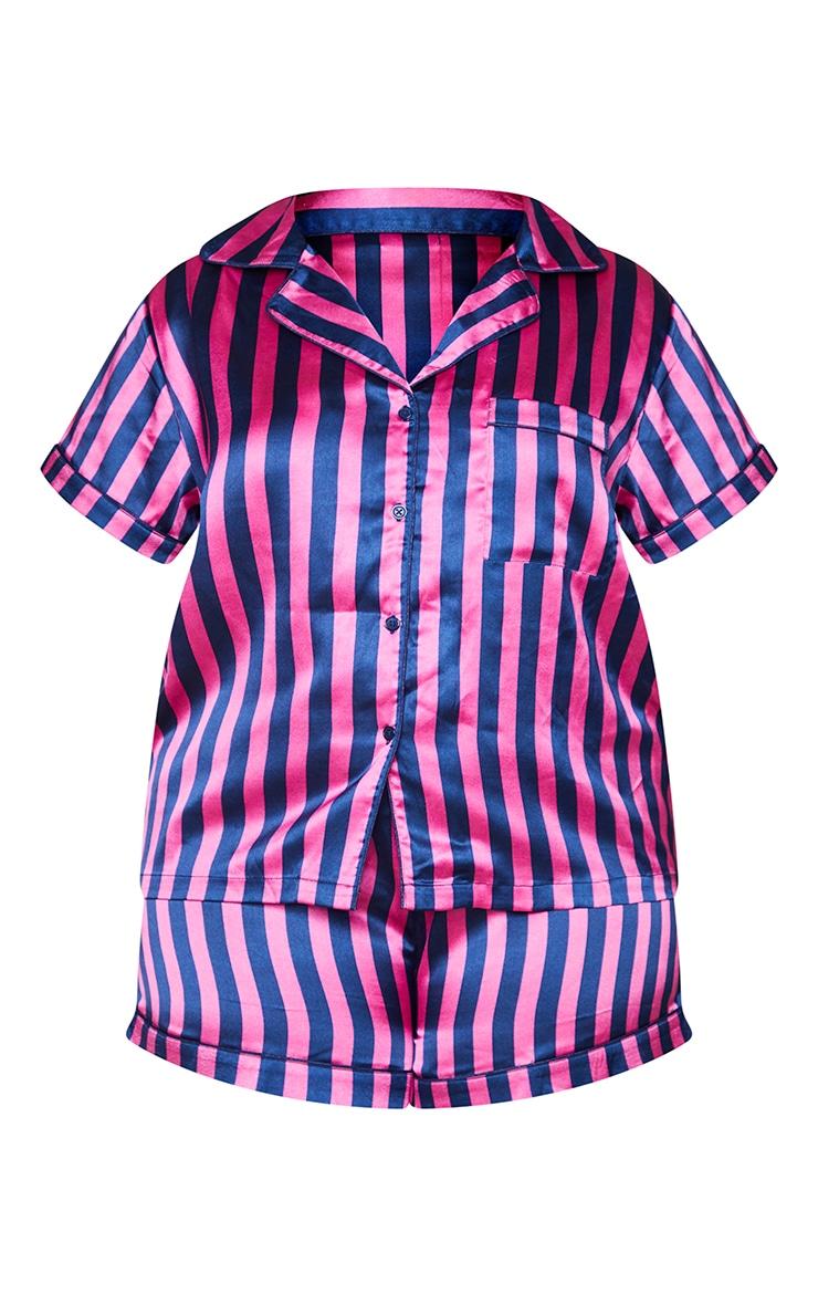 Plus Navy And Pink Stripe Print Short Satin PJ Set 5