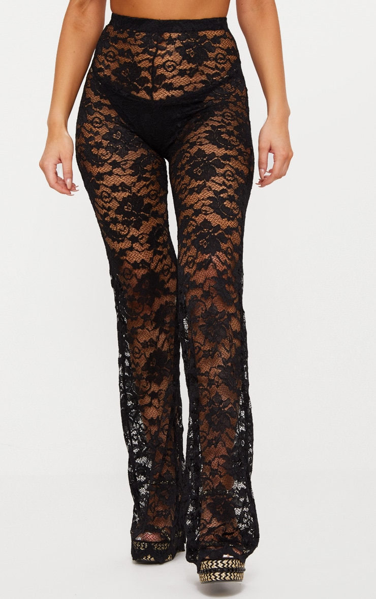 Black Lace Scalloped Hem Beach Trousers 2
