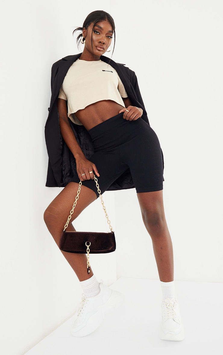 PRETTYLITTLETHING Tall Stone Oversized Cropped T- Shirt 3