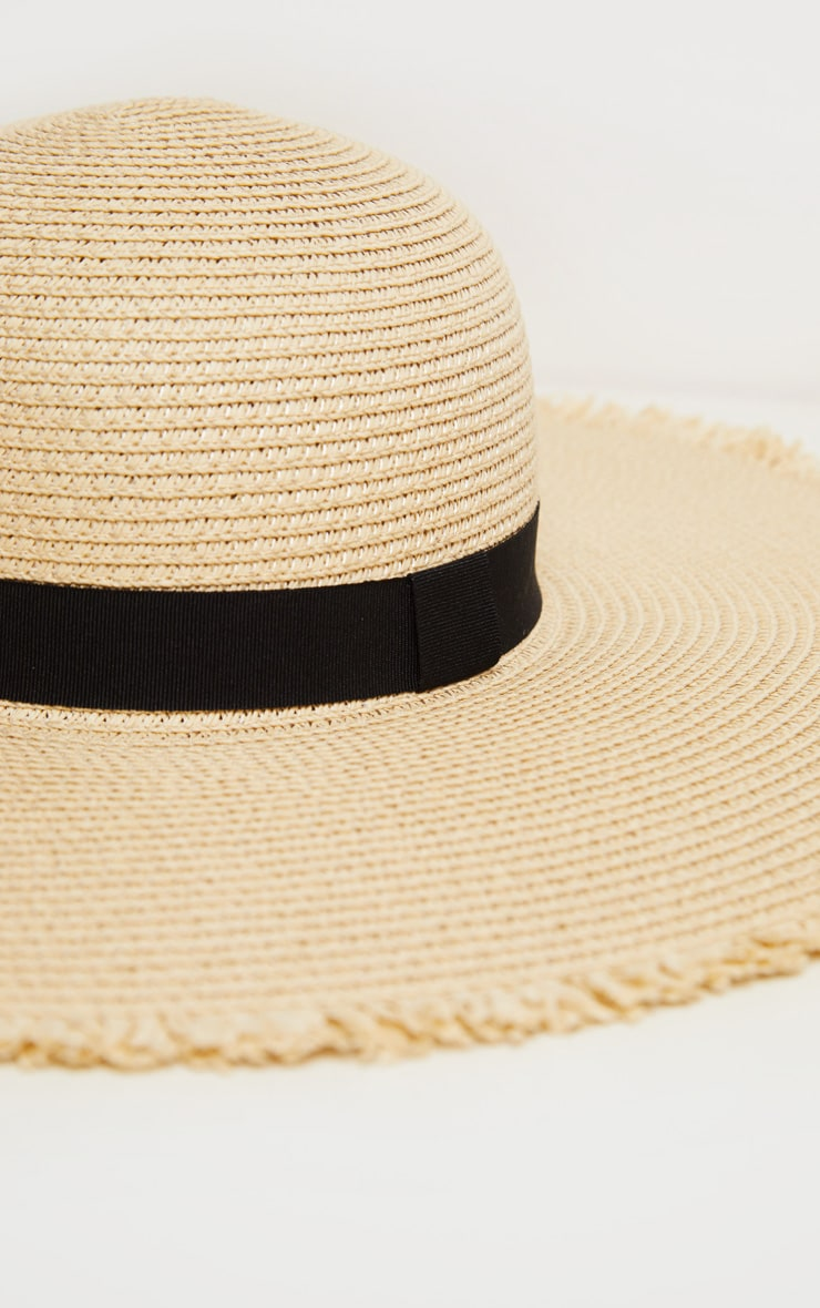 Natural Frayed Edge Wide Brimmed Boater Hat 3