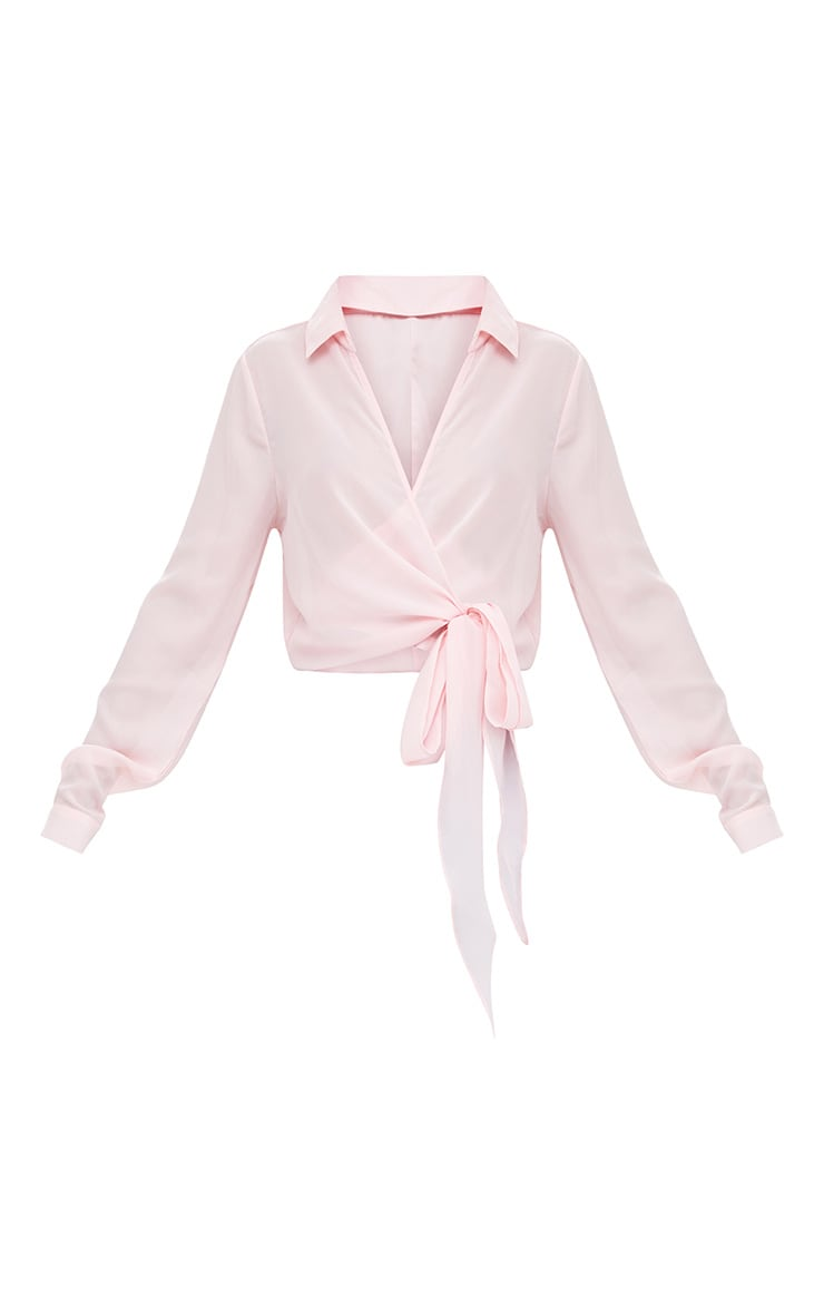 Avalyn Pink Wrap Front Tie Side Blouse 3