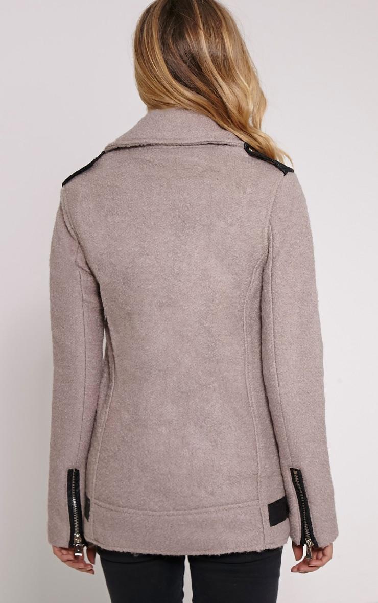 Keeva Mauve Faux Wool Biker Style Jacket 2