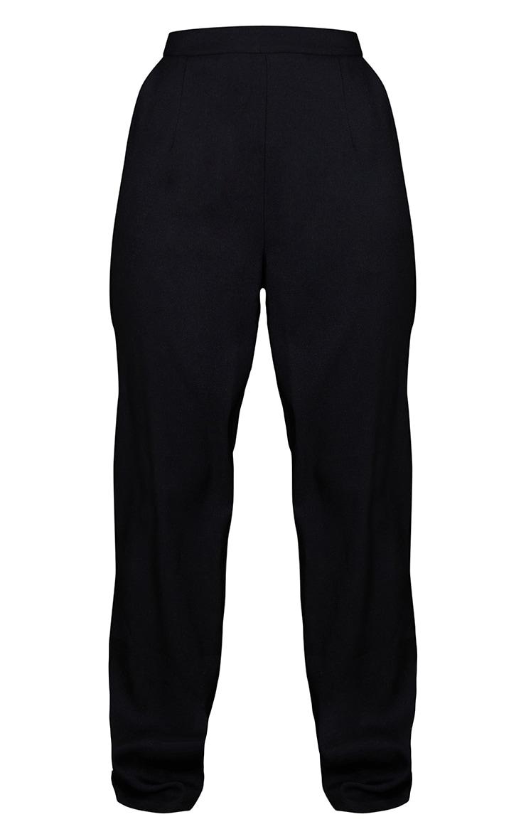 Black Woven Straight Leg Trousers 5