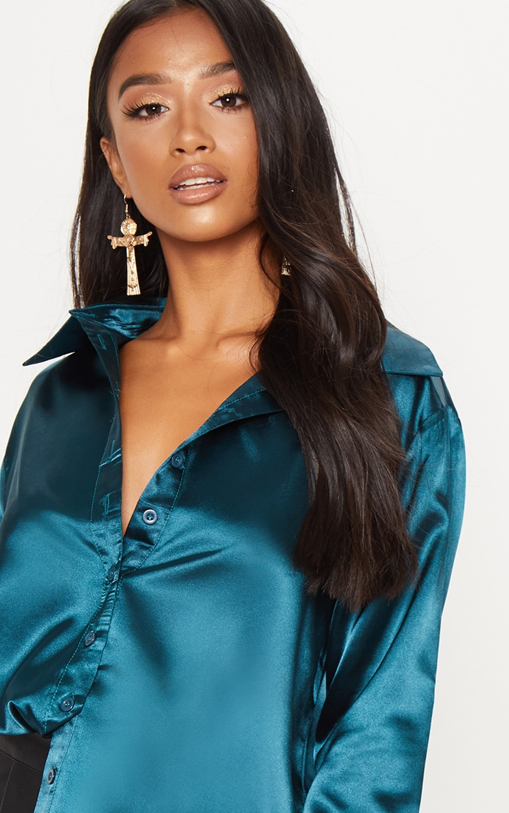 Petite Emerald Green Satin Shirt 4
