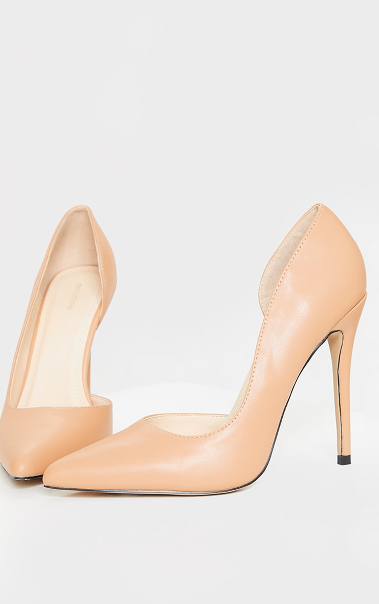 Tan Point Toe Cut Out Side Stiletto Court Shoes 1