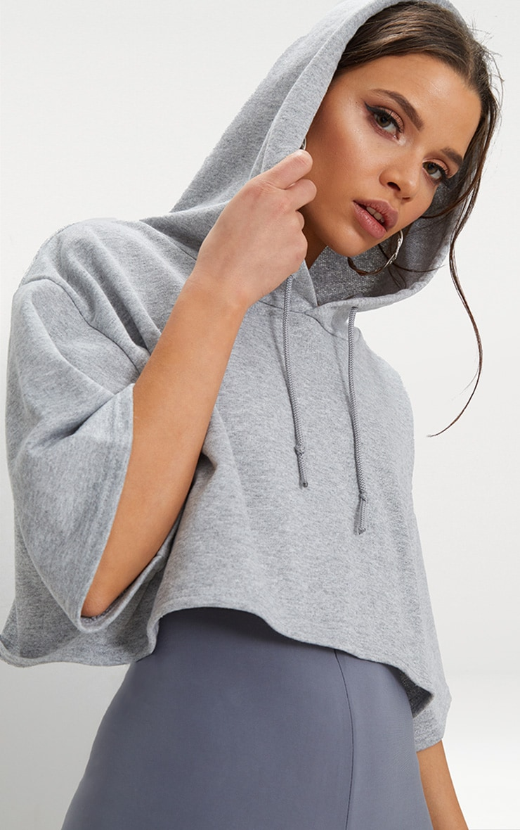 Grey Crop Sweat Hoodie 5