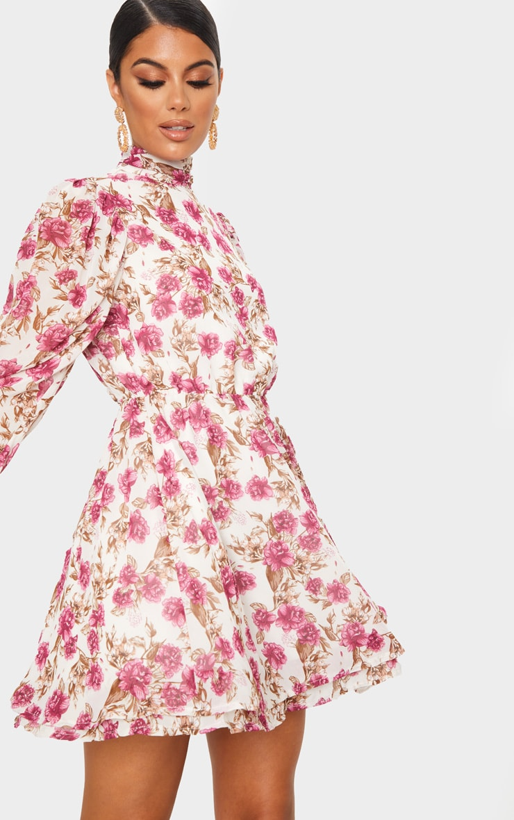 Nude Floral Print High Neck Chiffon Skater Dress 4