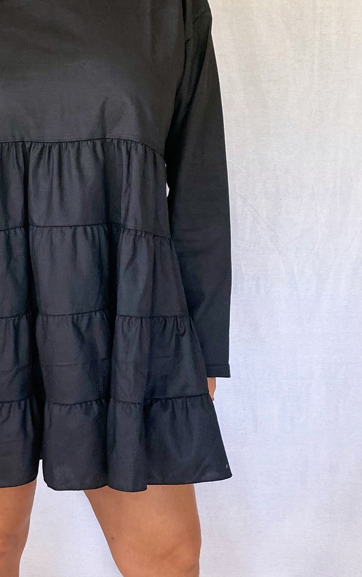Plus Black Tiered Long Sleeve Crew Neck Smock Dress 4