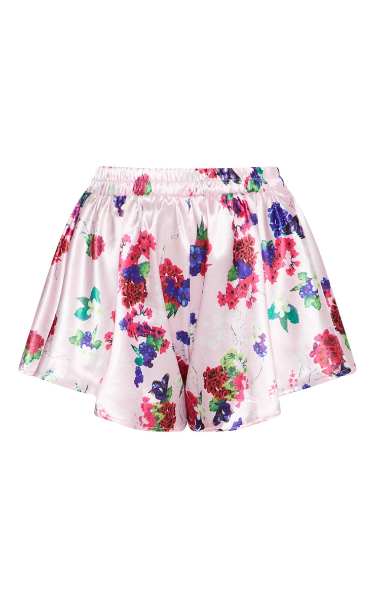 Pink Satin Floral Print Floaty Shorts 3