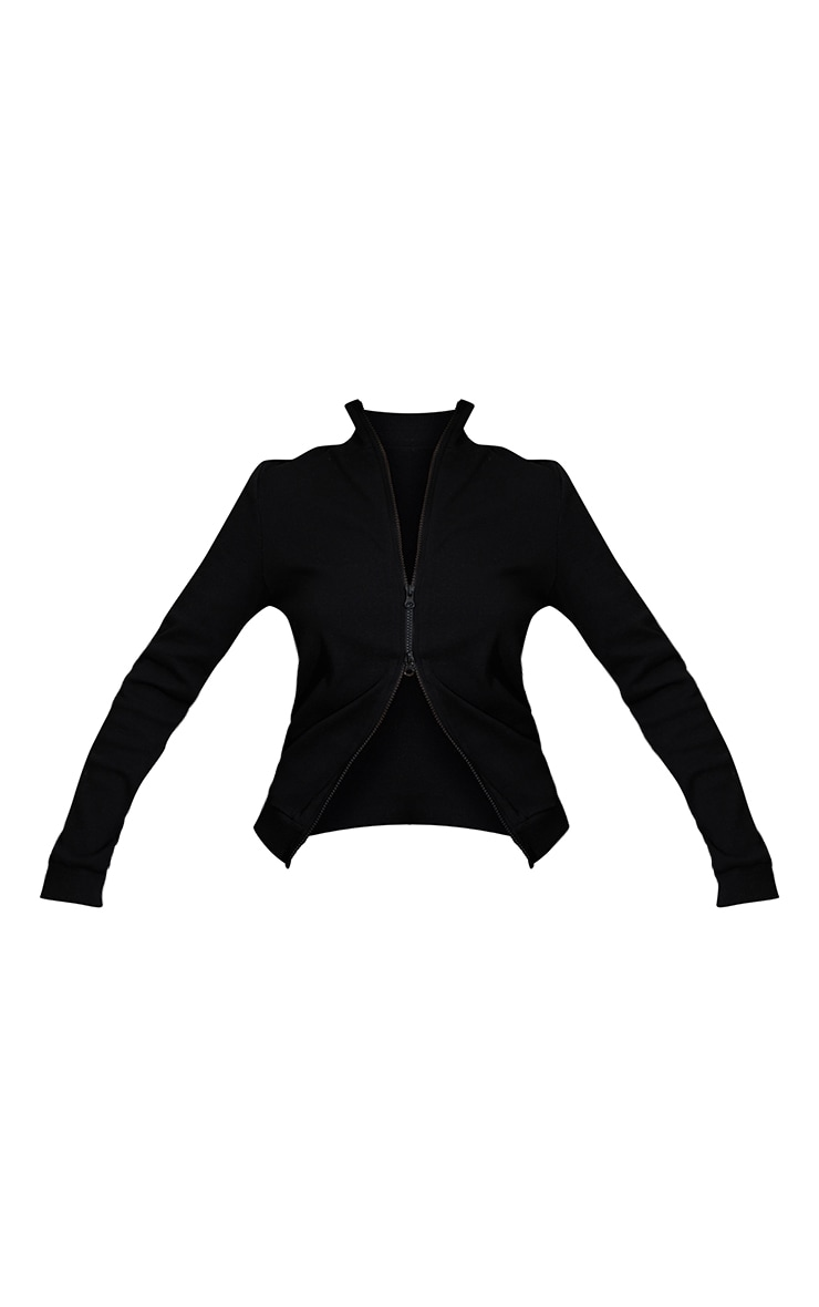 Black Heavy Ribbed Double Zip Front Funnel Neck Jacket 5