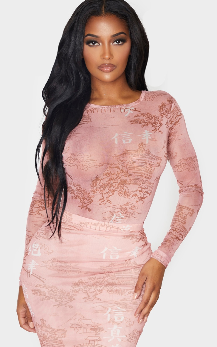 Shape Rose Oriental Printed Mesh Long Sleeved Bodysuit 2
