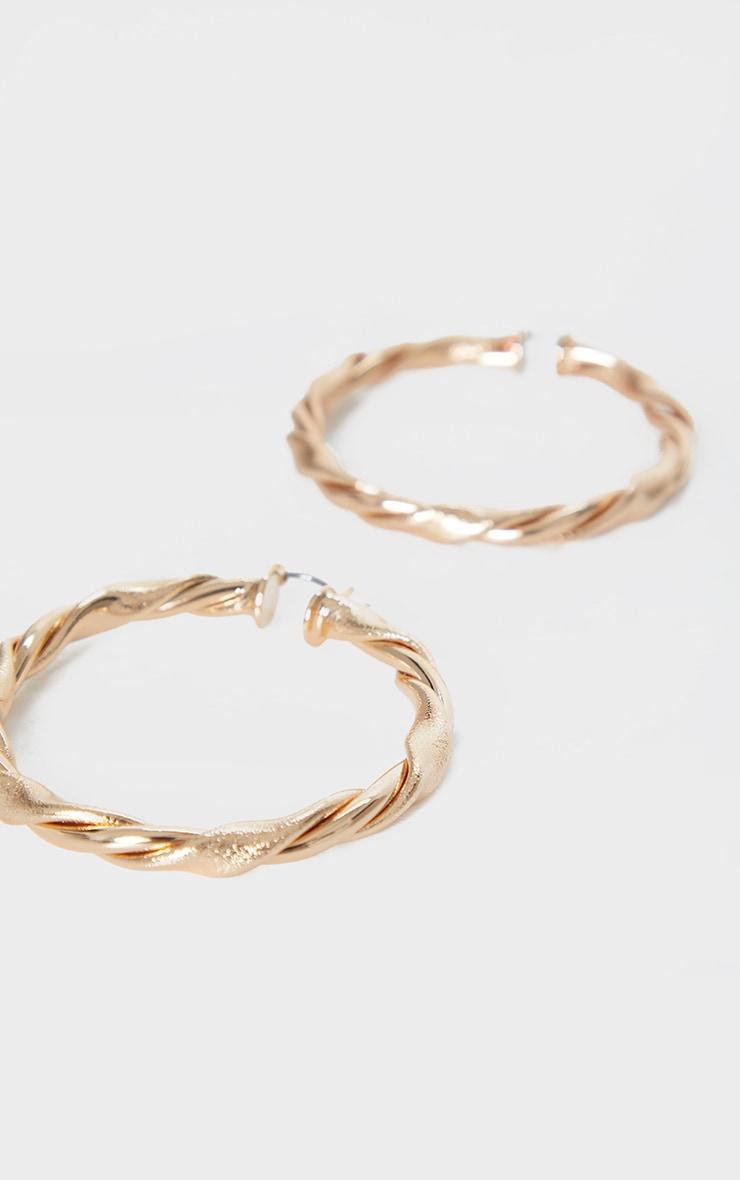 Gold Twist Hoop Earrings 3