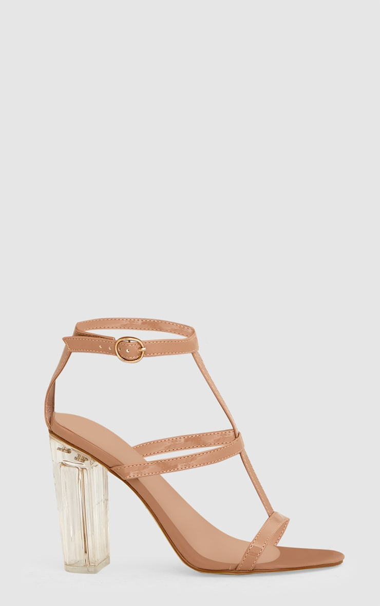 Nude Clear Heel Caged Sandals  3