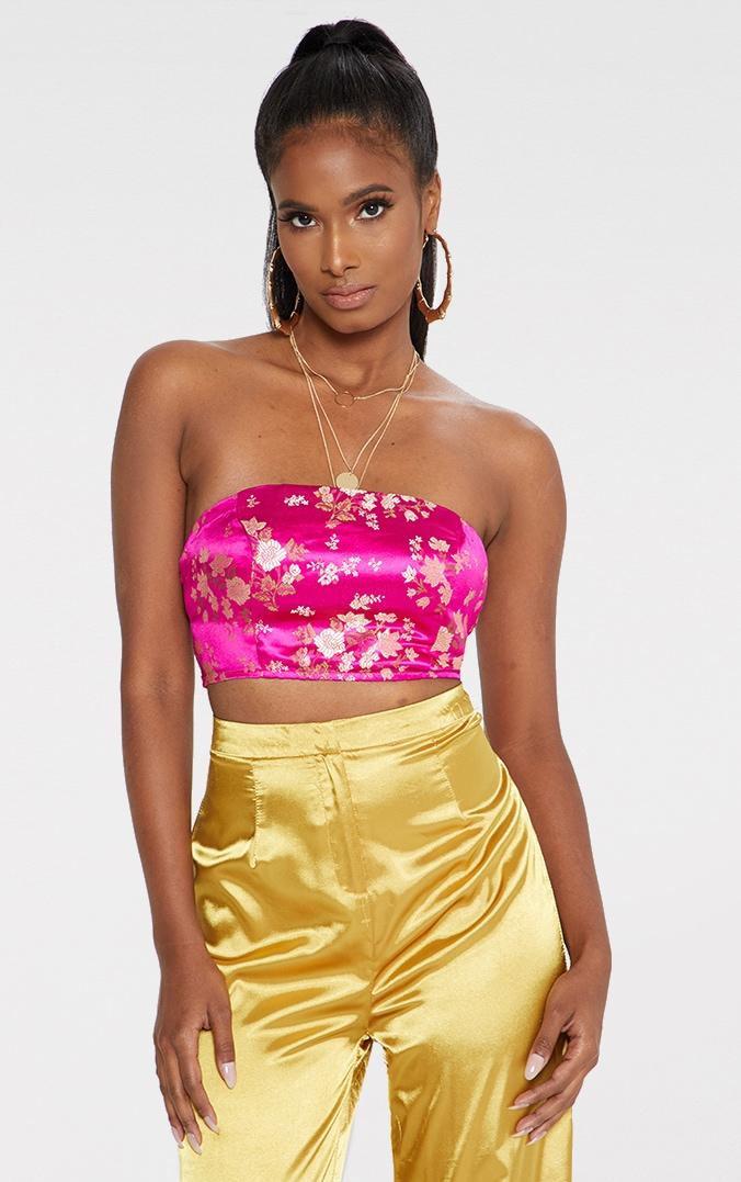 Pink Satin Oriental Jacquard Lace Up Back Bandeau Top 1