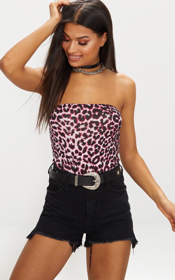 Pink Leopard Bandeau Jersey Thong Bodysuit