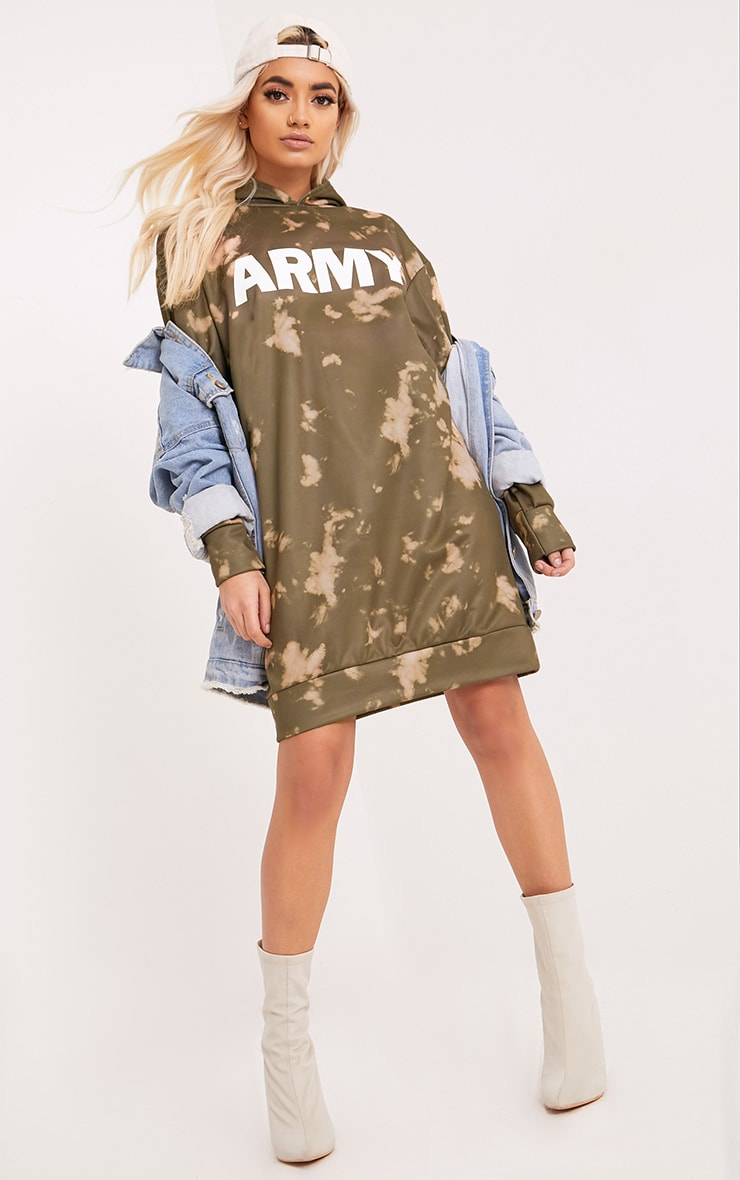 Army Tie Dye Jumper Dress Khaki 1
