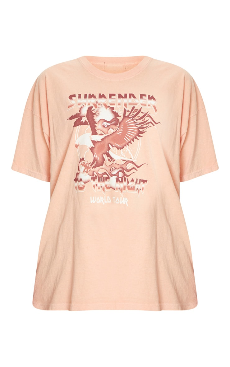 T-shirt orange à slogan Surrender World Tour 5