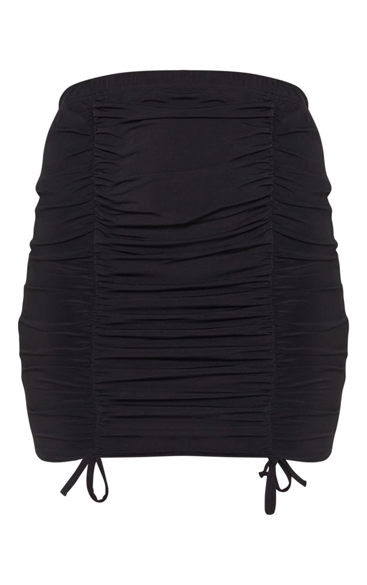 Black Ruched Front Mini Skirt  3