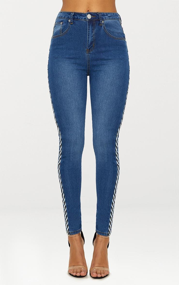 Mid Wash Diagonal Sports Stripe 5 Pocket Skinny Jean 5