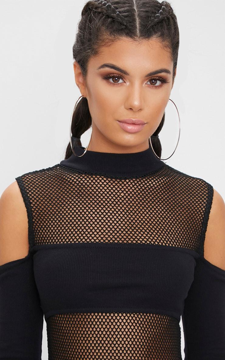 Black Fishnet Jersey Panel Cold Shoulder Thong Bodysuit  6